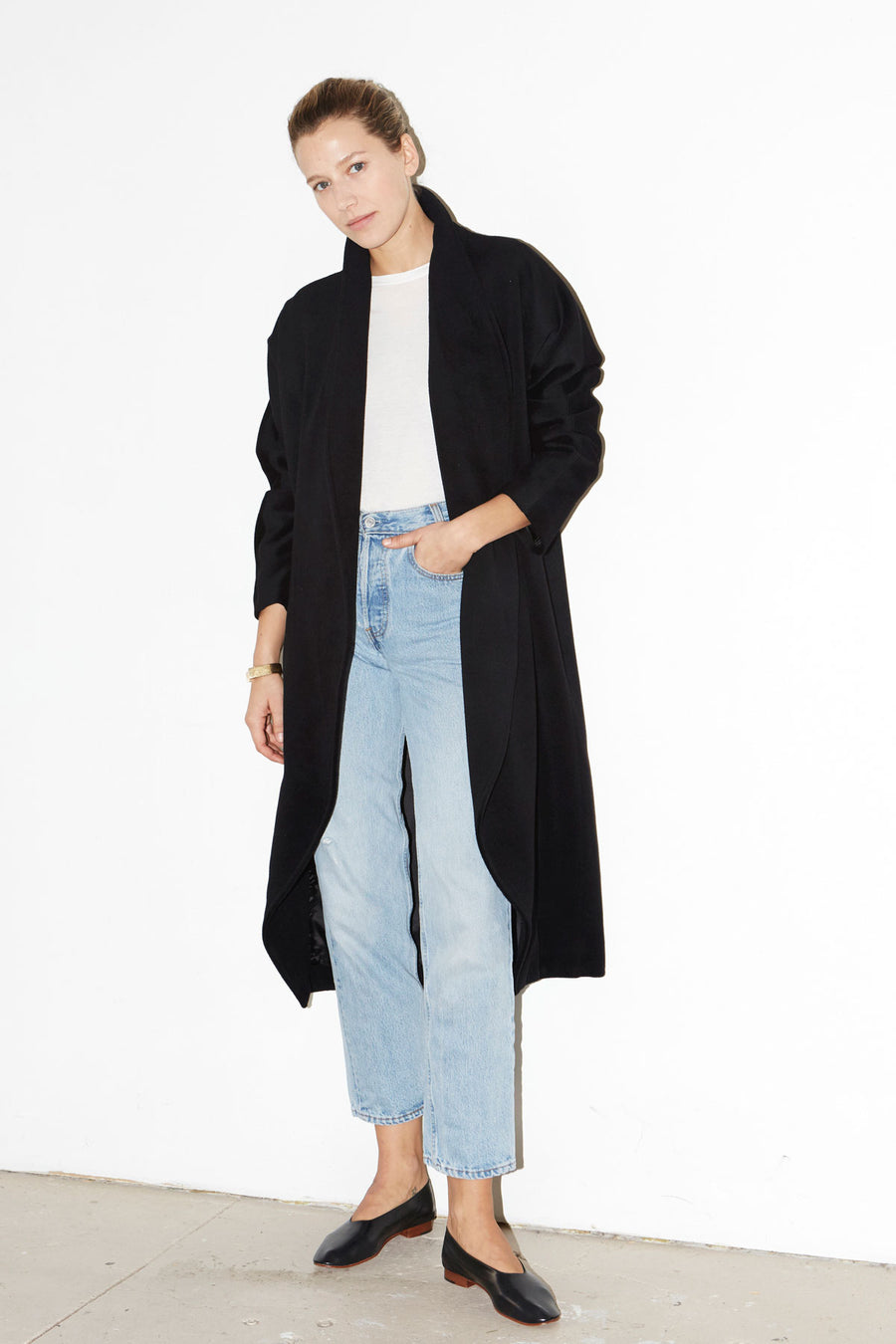 Black Escape Cashmere-Wool Blend Coat