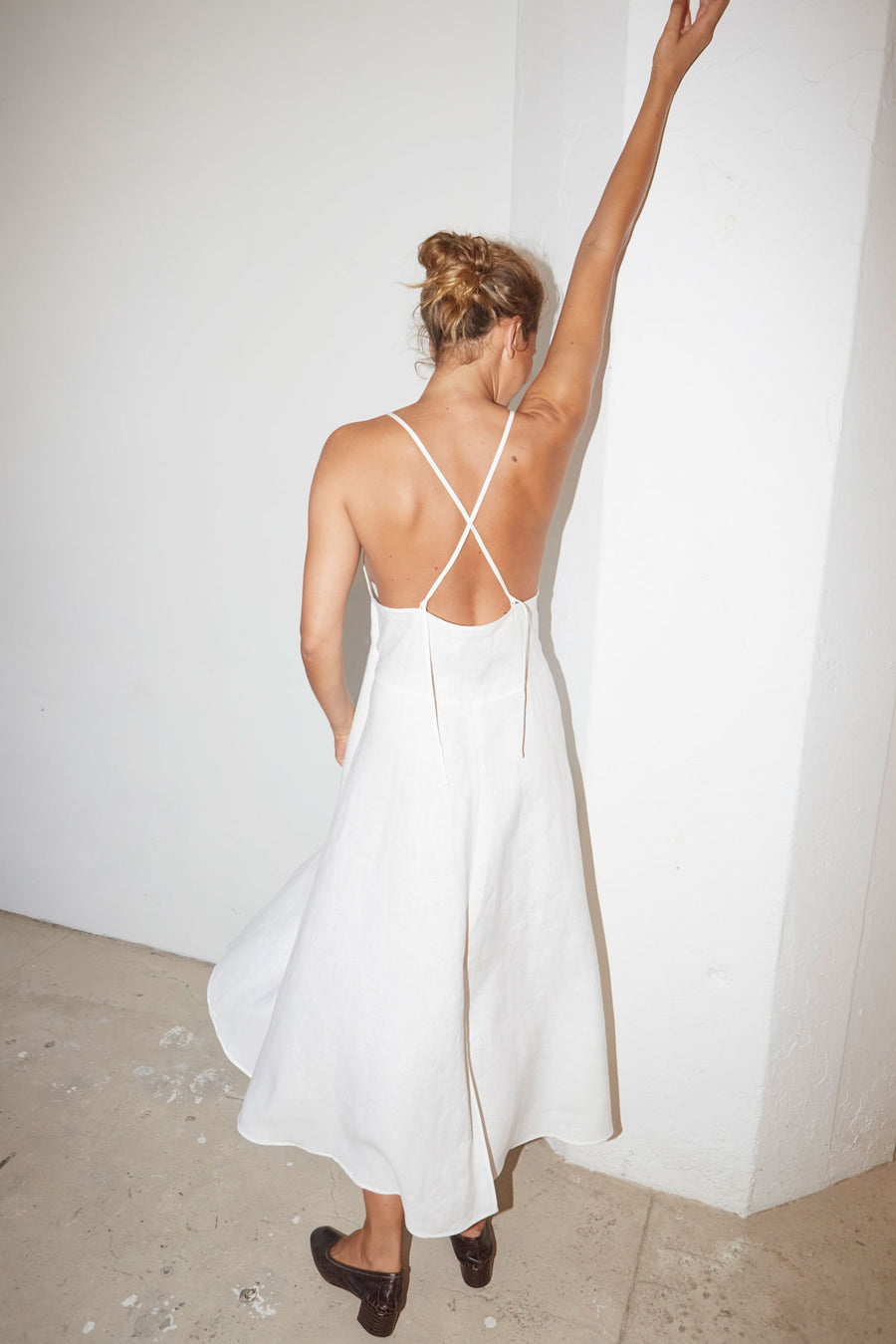 White Linen Slip Dress