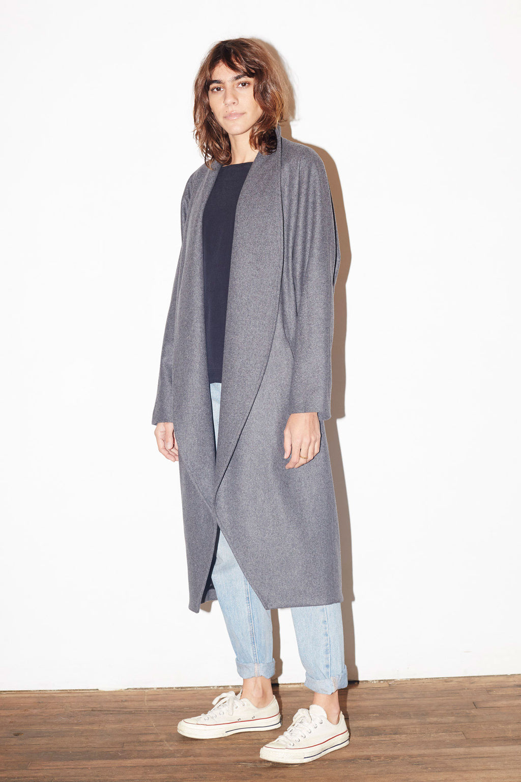 Charcoal Grey Cashmere Wool Escape Coat