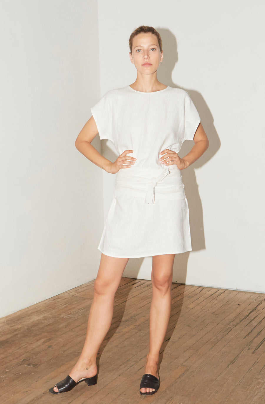 White Linen Knot Dress