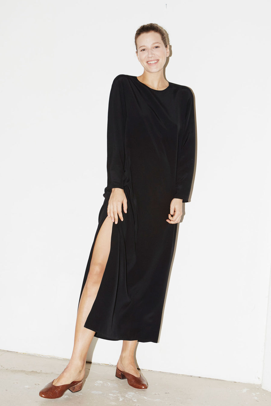 Black Silk Ava Dress
