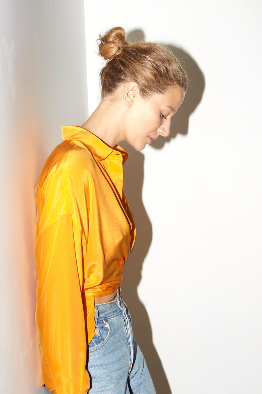 Citric Orange Silk Lola Blouse
