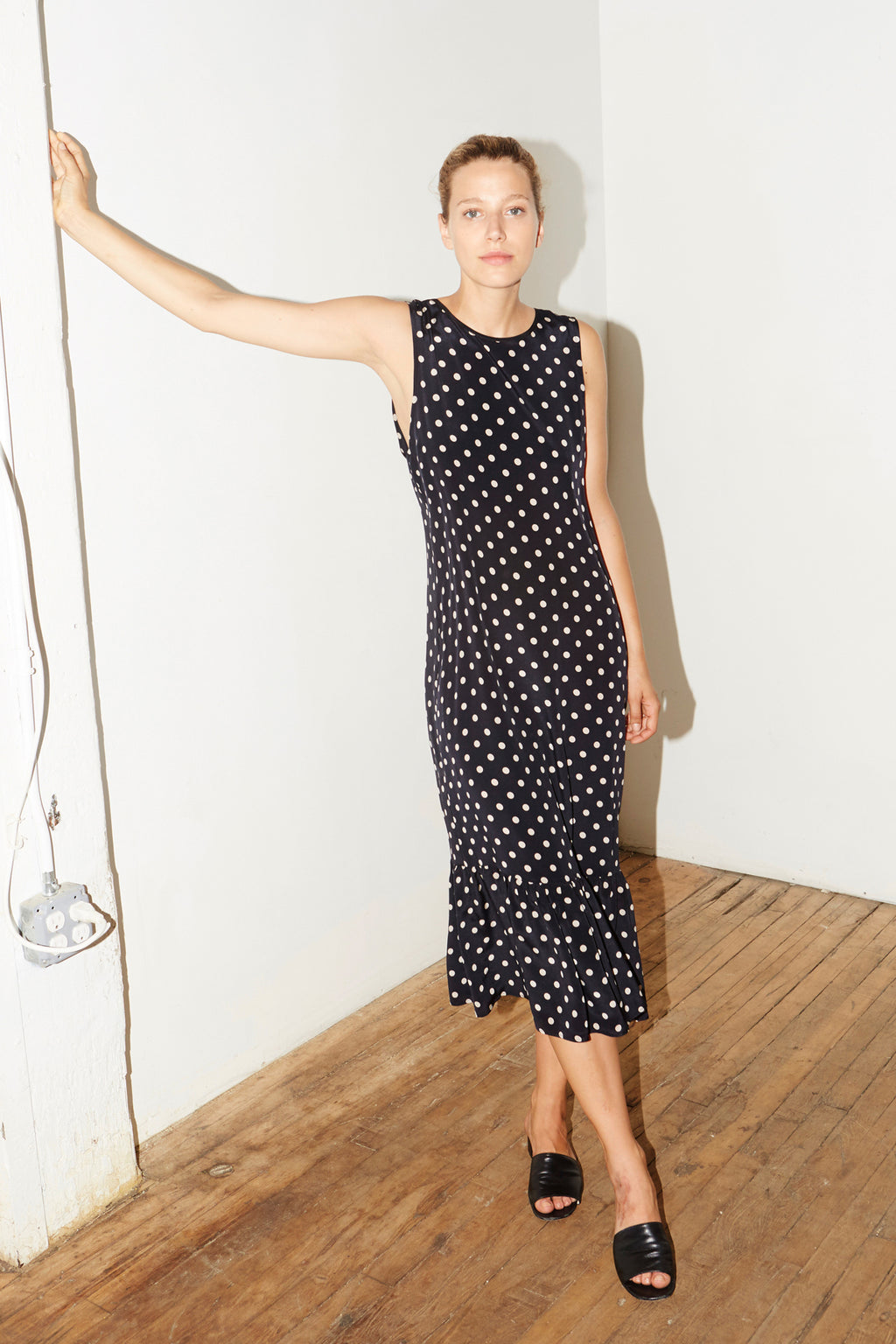 Polka Silk Carmen Dress
