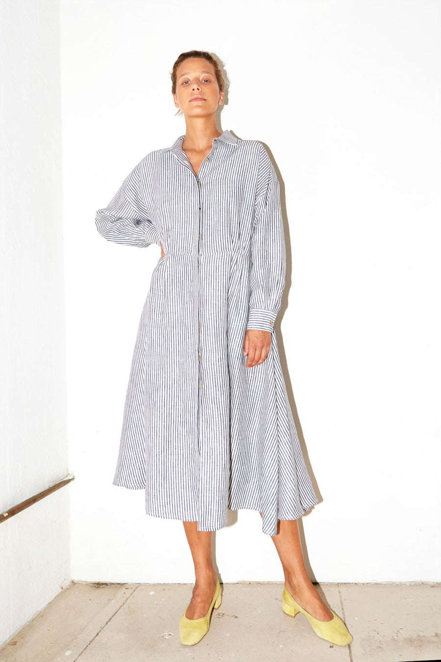 Striped Linen Long Shirt Dress