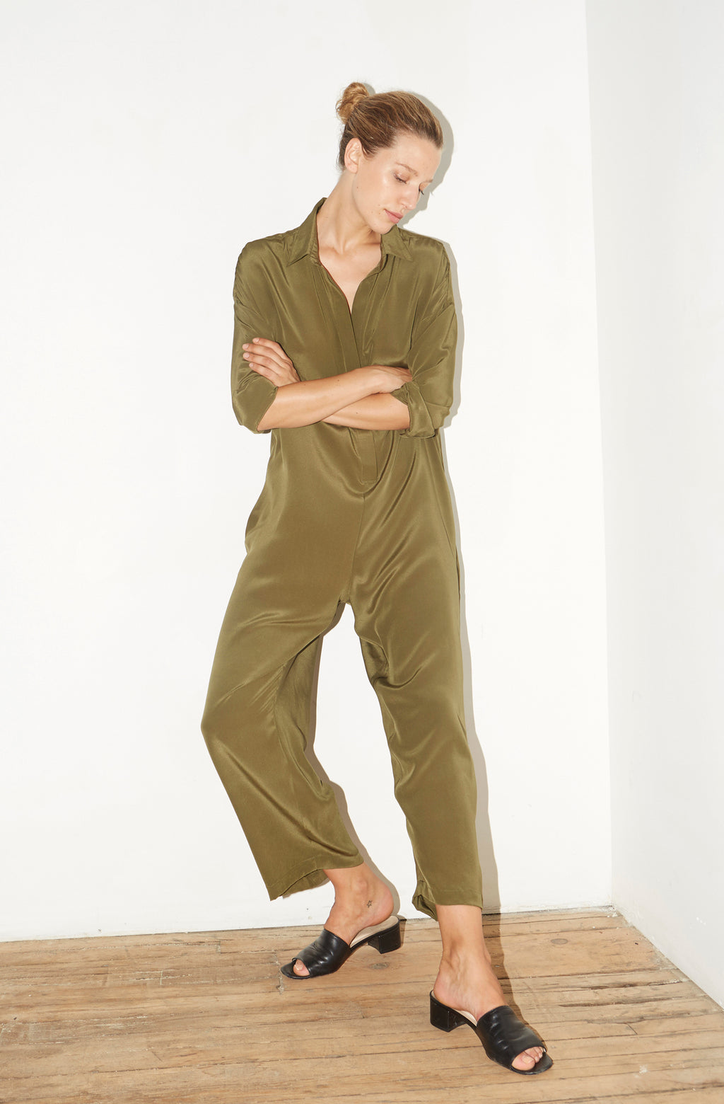 Olive Green Silk Ren Jumpsuit