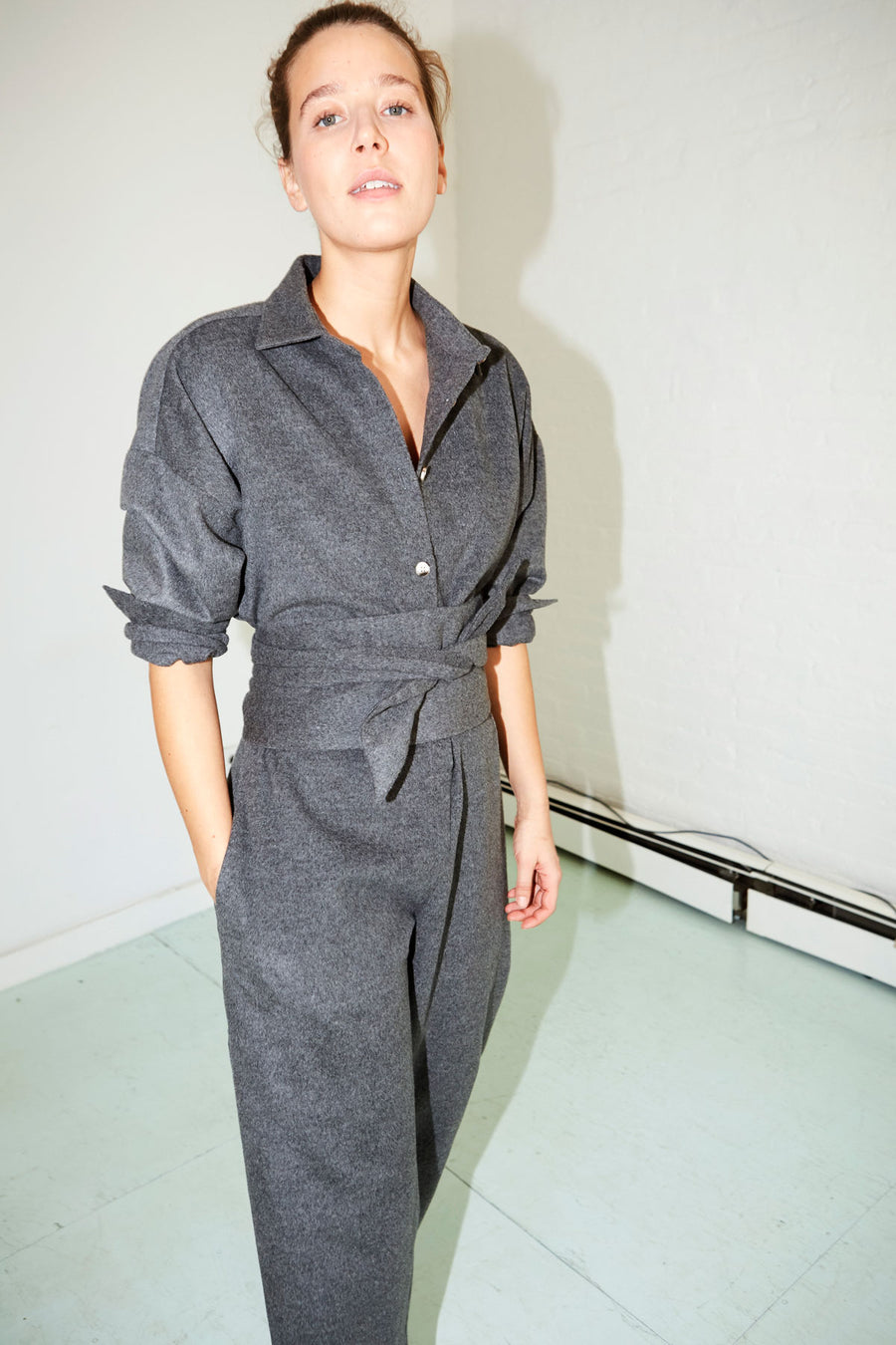 Ash Grey Wool Ren Jumpsuit