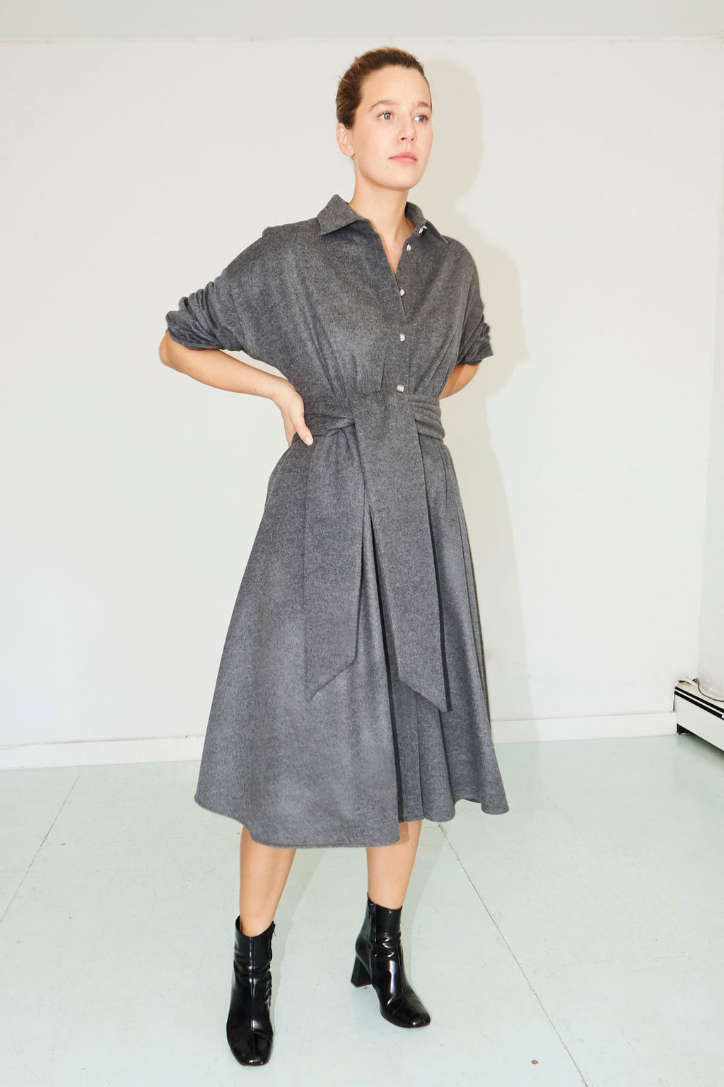 Ash Grey Wool Shirt Dress