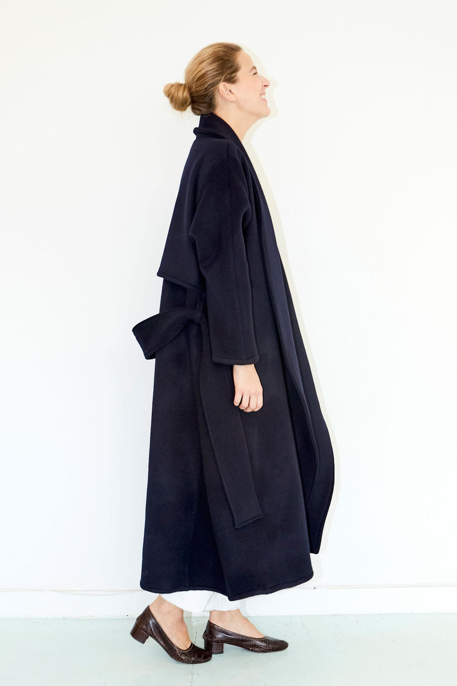 Deep Blue Wool Futura Trench Coat