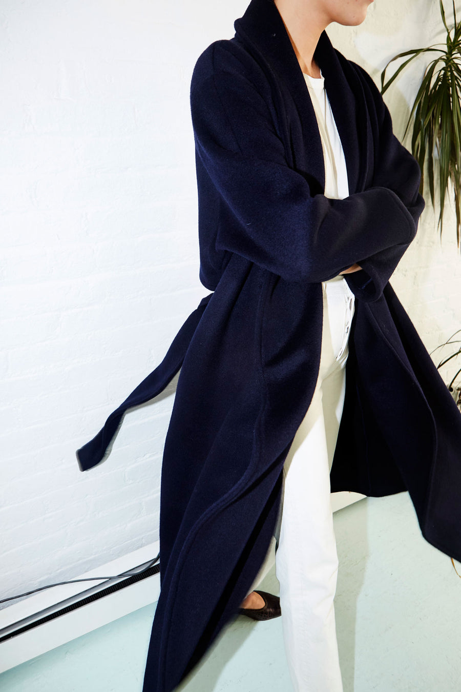 Deep Blue Cashmere Wool Trench Coat
