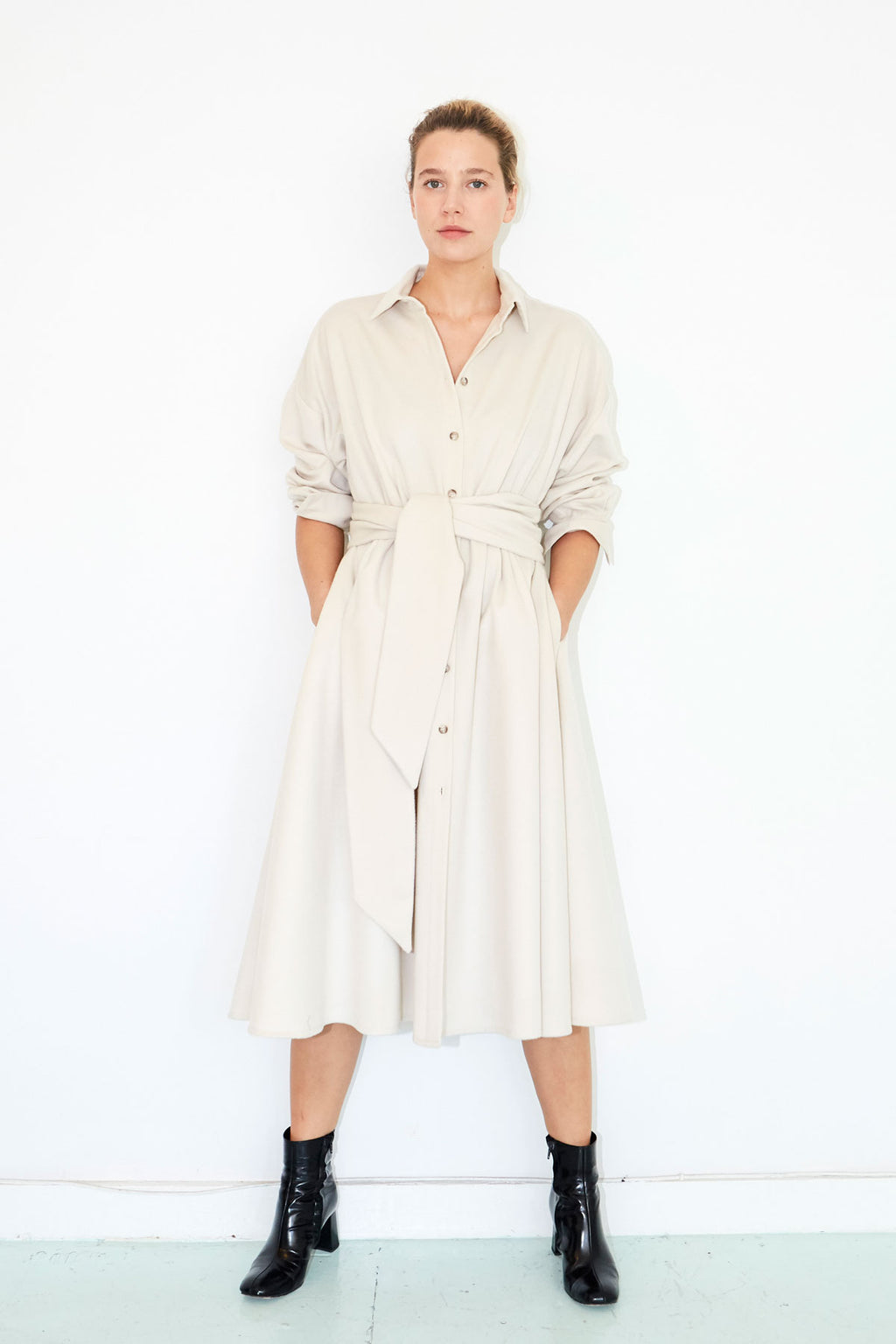 Bone Wool Shirt Dress