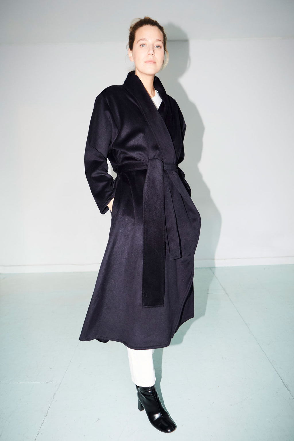 Night Blue Cashmere Wool Blend Trench Coat