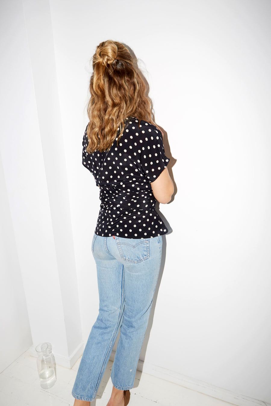 Polka Silk Knot Top