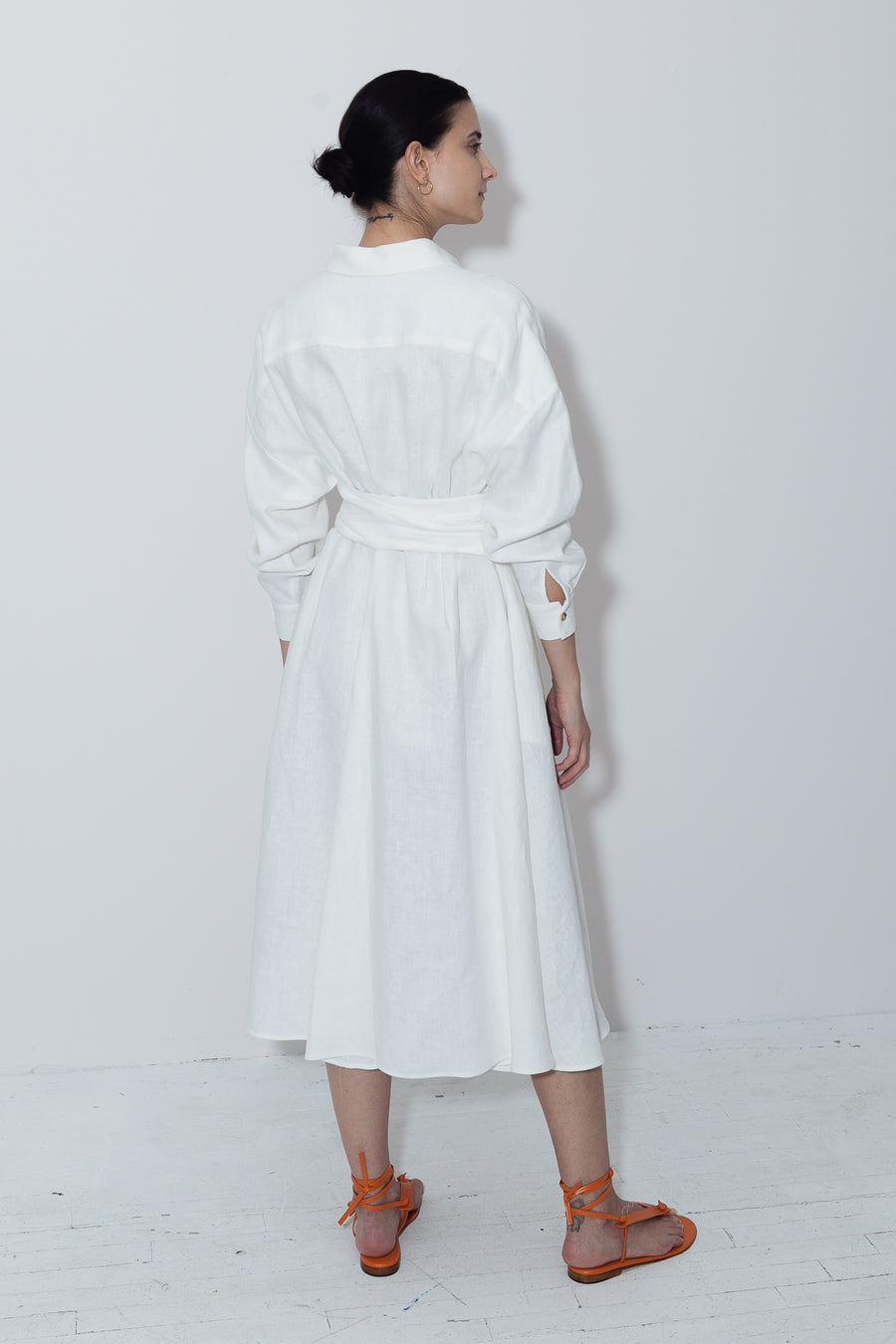 White Linen Long Shirt Dress