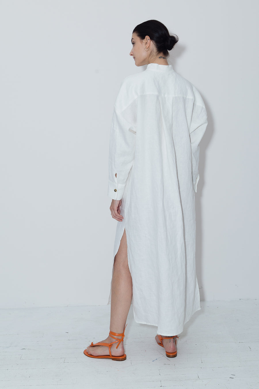 White Linen Petra Kaftan Dress