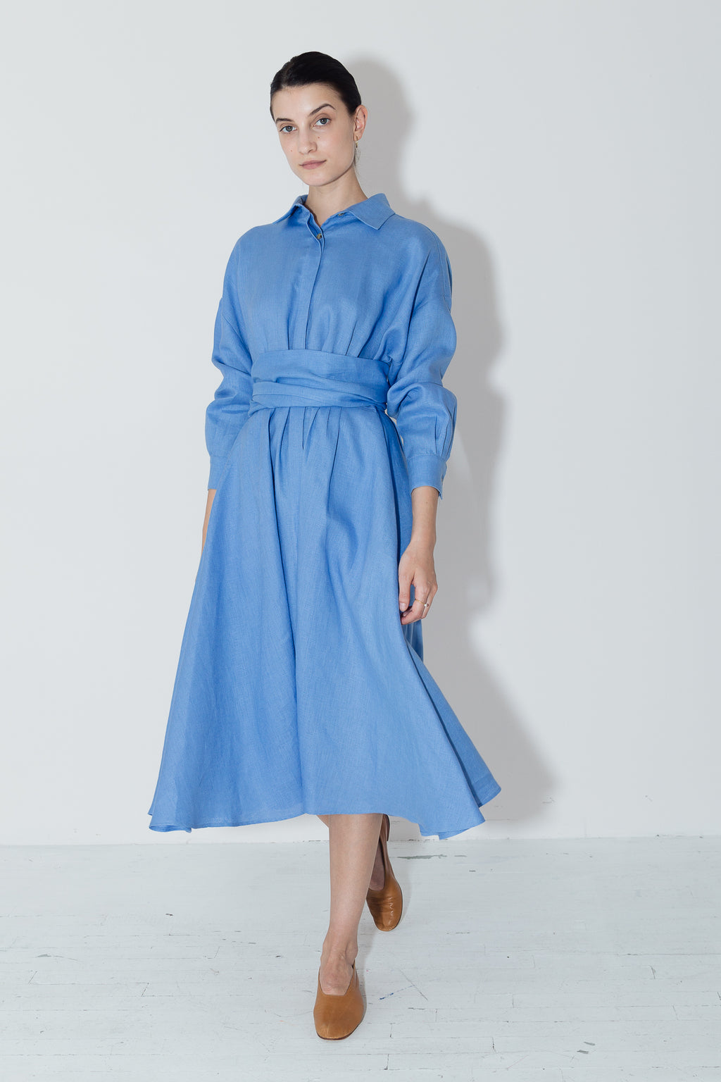 Empyrean Linen Long Shirt Dress