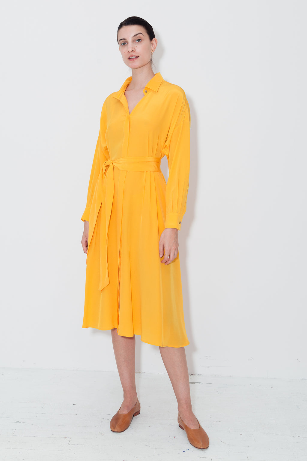 Citric Orange Shirt Dress