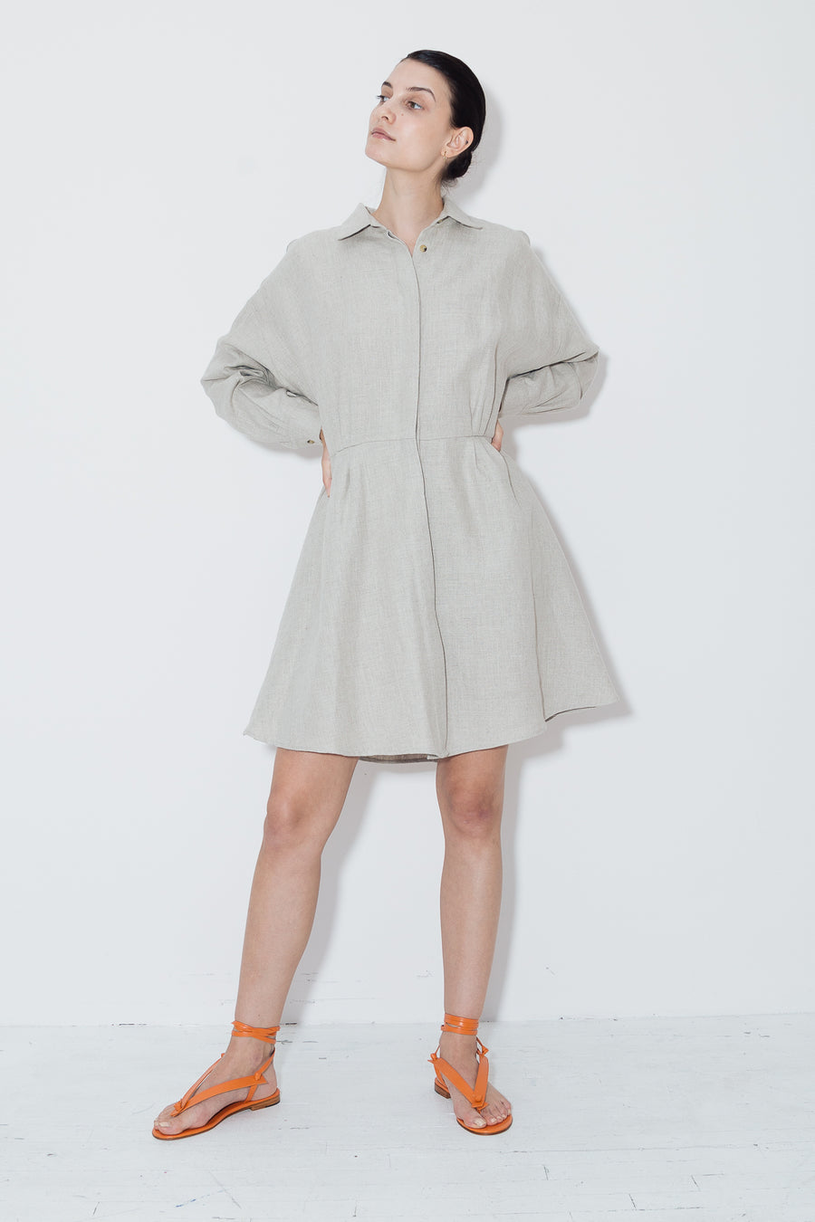 Phoenicia Heavy Linen Short Shirt Dress