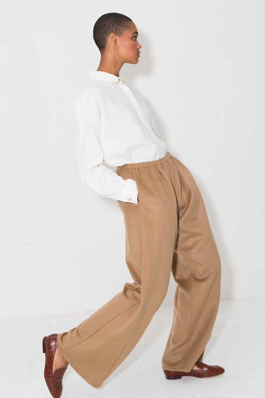 Sand Cashmere Wool Judo Pants