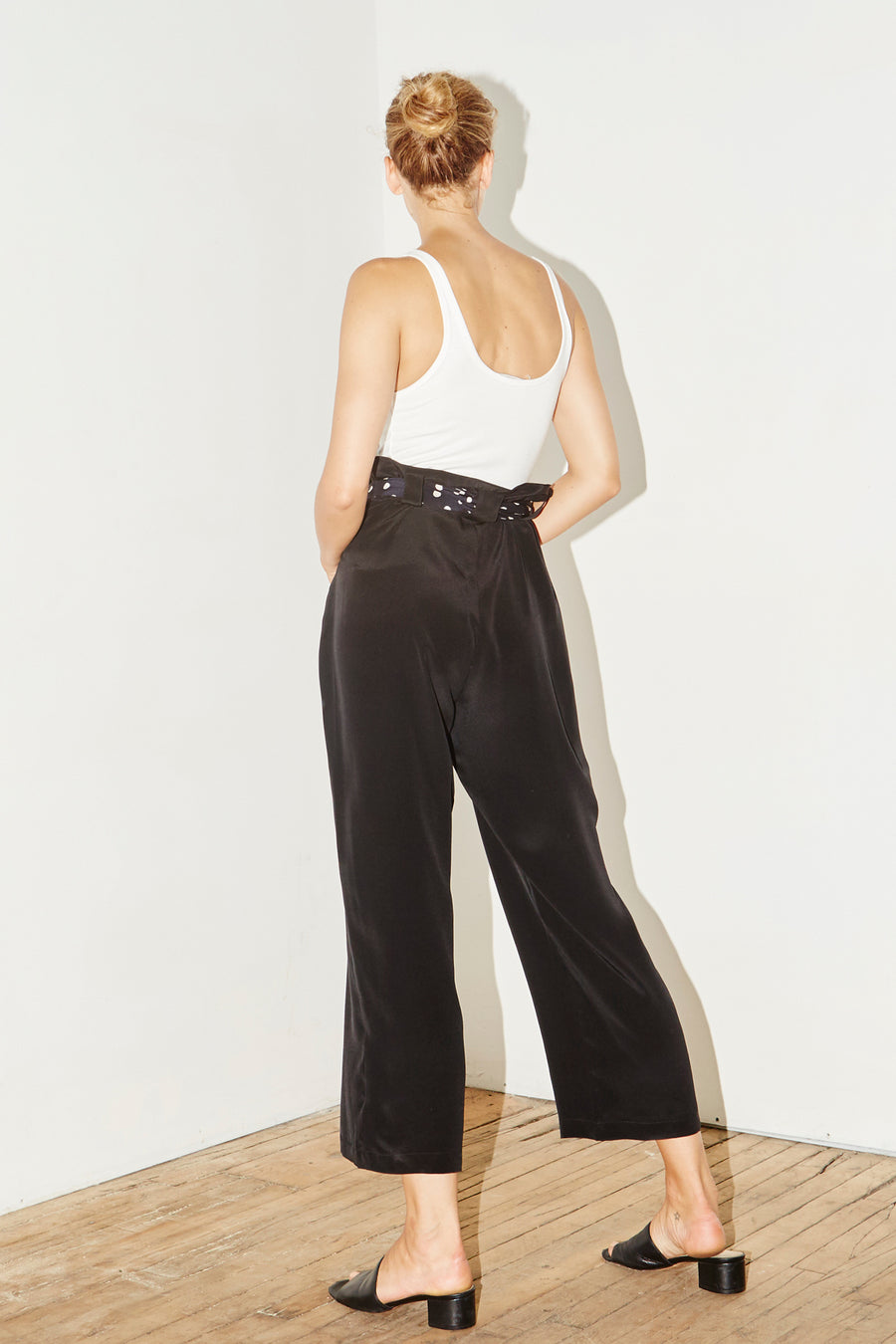 Black Silk Aikido Pants
