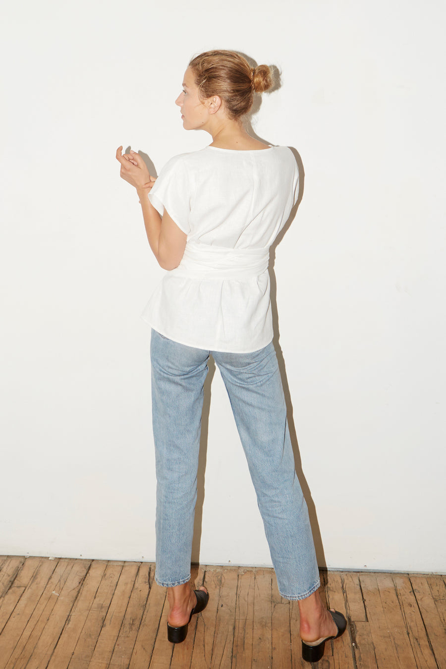 White Linen Knot Top
