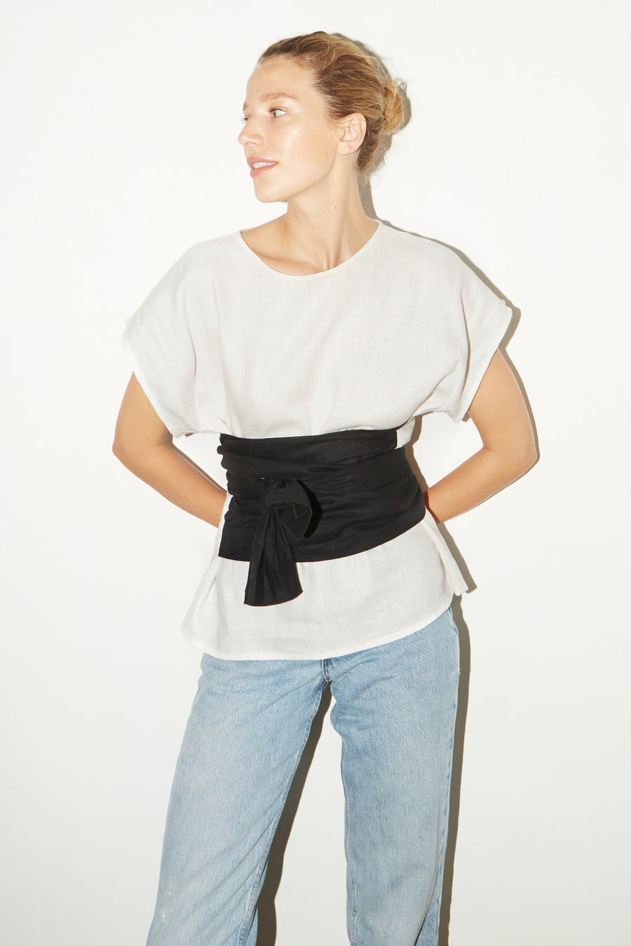 White & Black Linen Knot Top