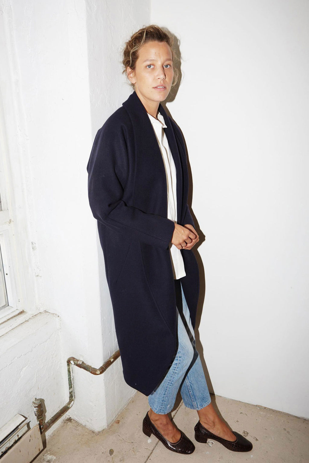 Night Blue Wool Escape Coat