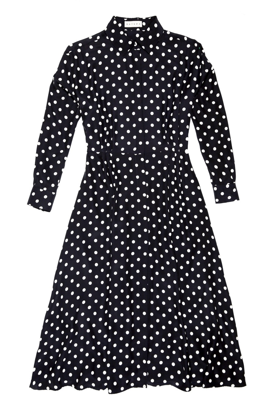 Polka Silk Long Shirt Dress