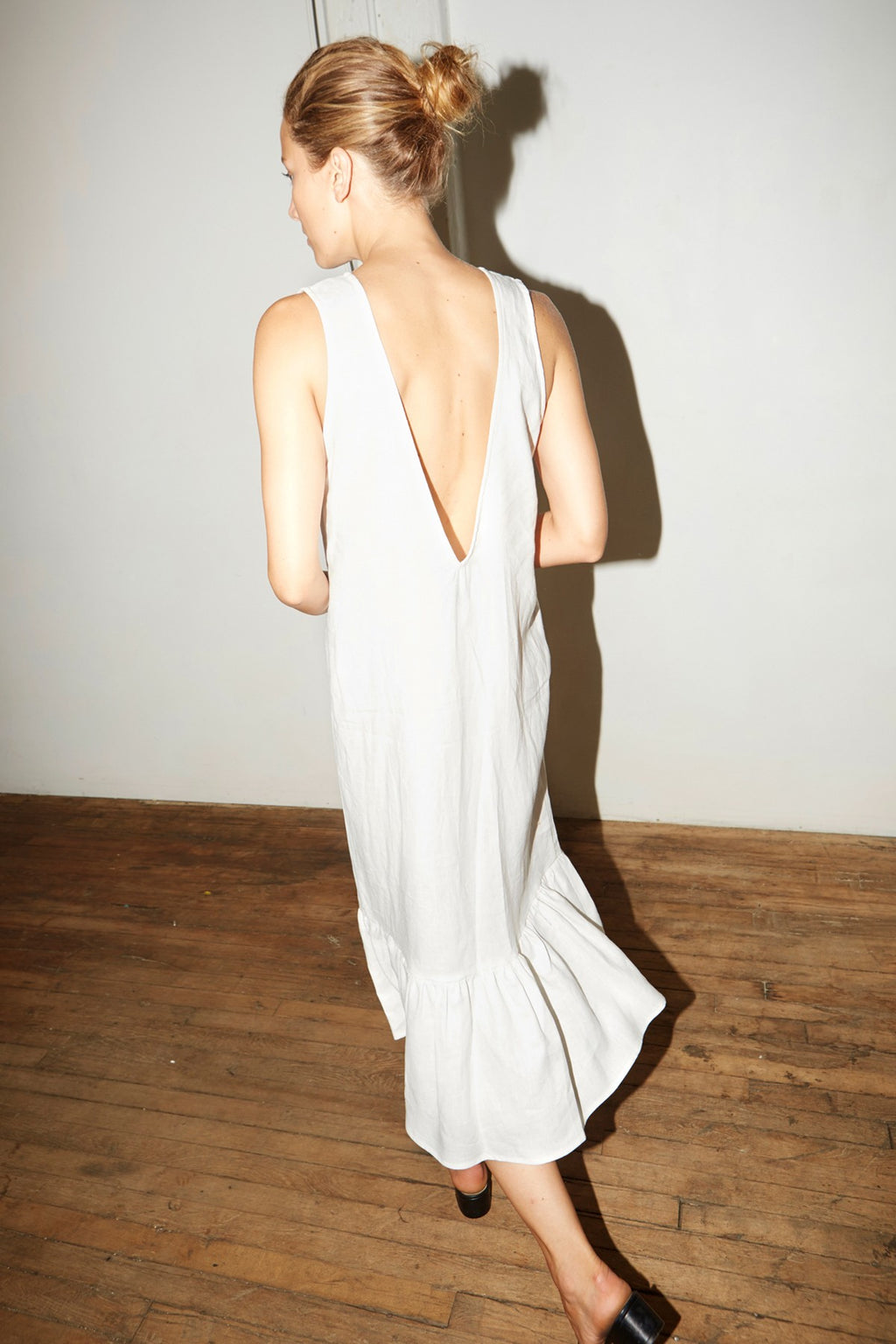 White Linen Carmen Dress
