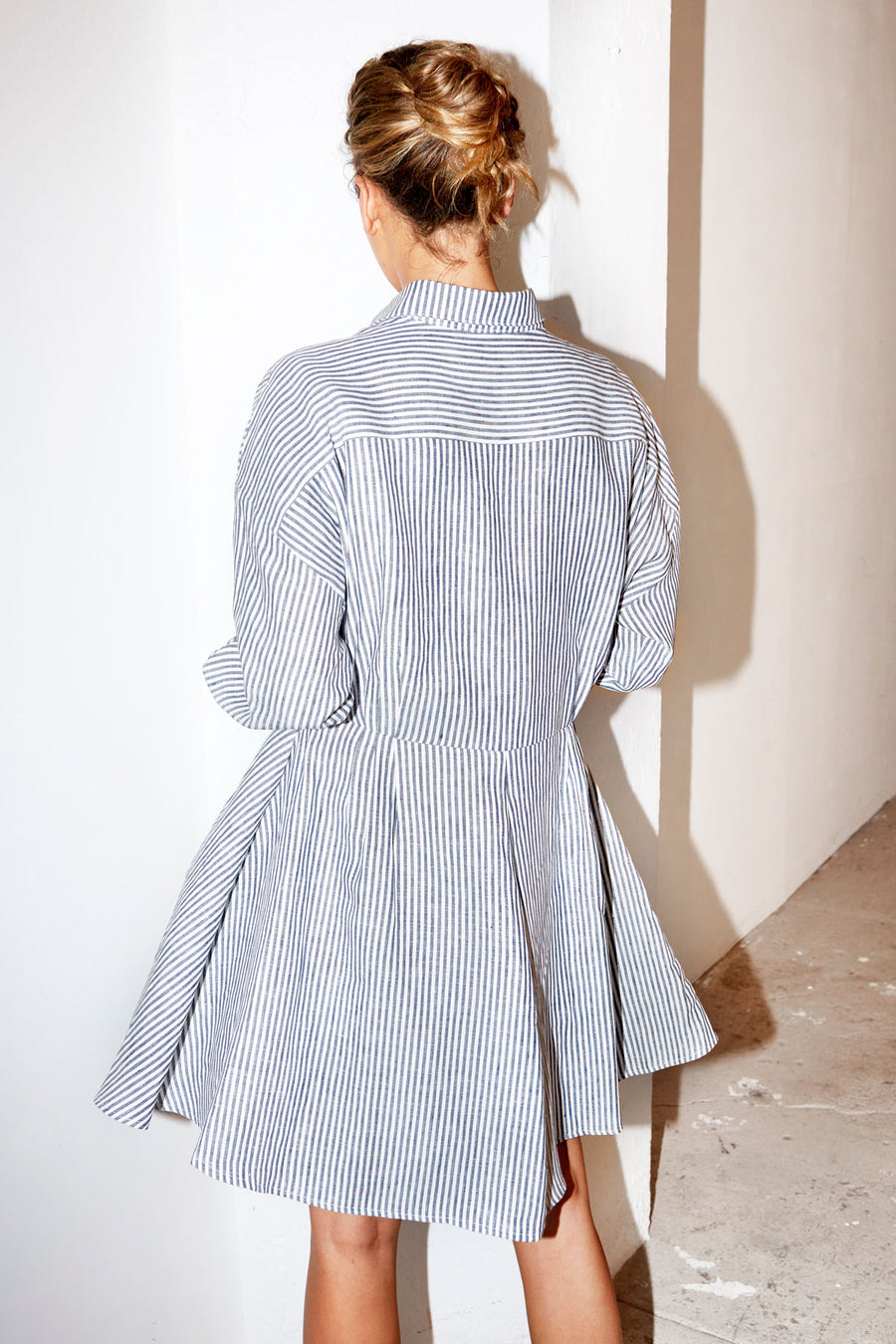 Striped Linen Short Shirt Dress