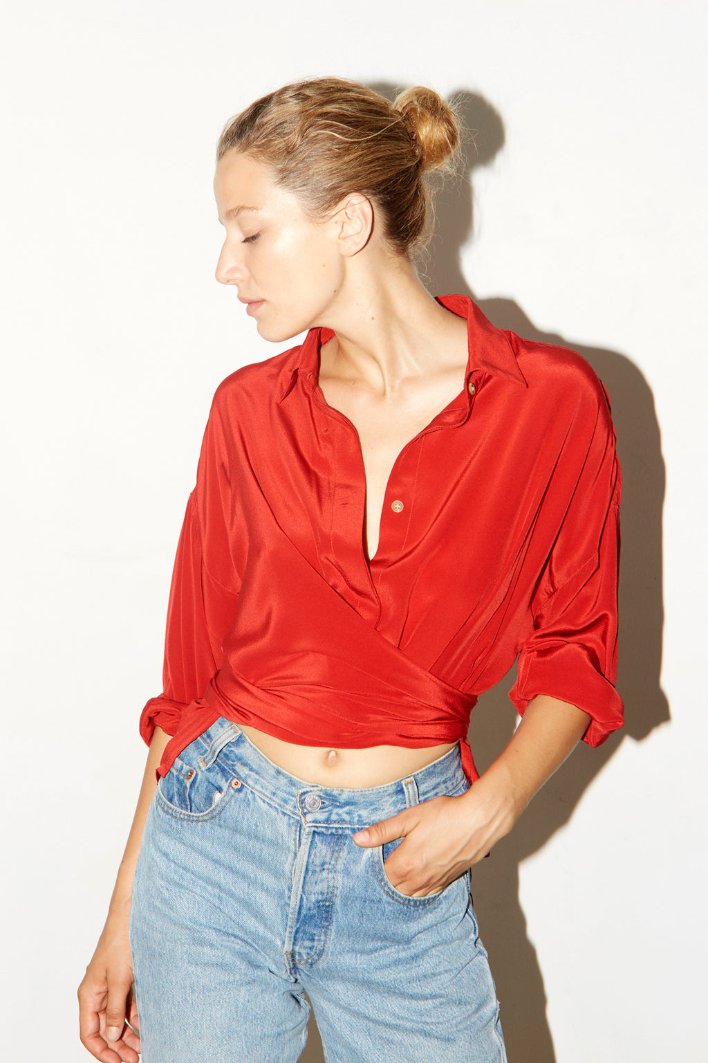 Passion Red Silk Lola Blouse