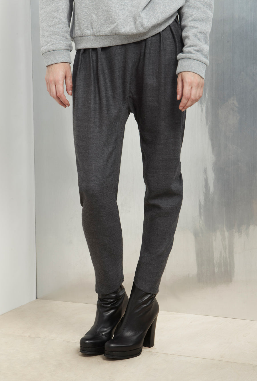Grey Soft Wool Medusse Pants