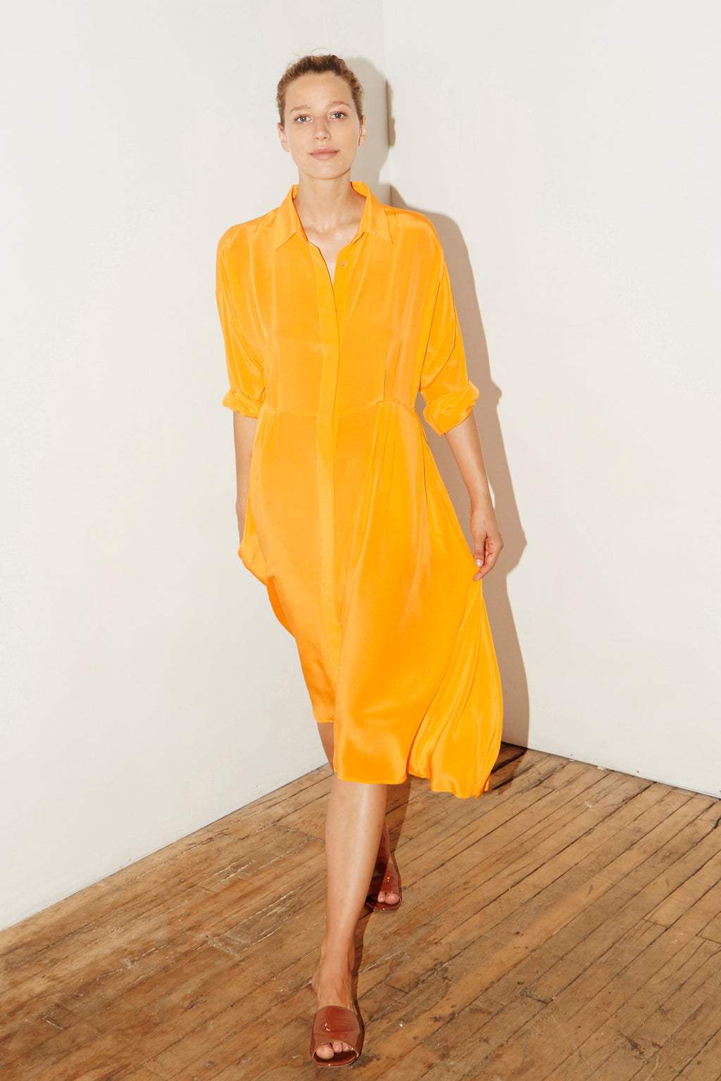 Citric Orange Silk Shirt Dress