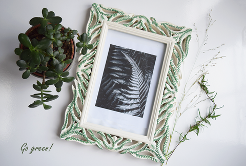 Fern hand painted carved picture frame