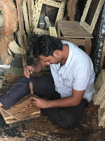 Our wood crafter Salman (featured) works out of a workshop in Mumbai, but hails from Saharanpur.
