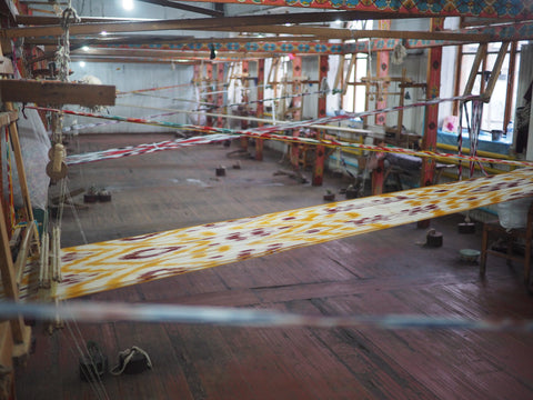 Image of Ikat weaving in a room