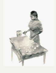 Auroville catalogue- sketch of a woman pressing leaves on paper