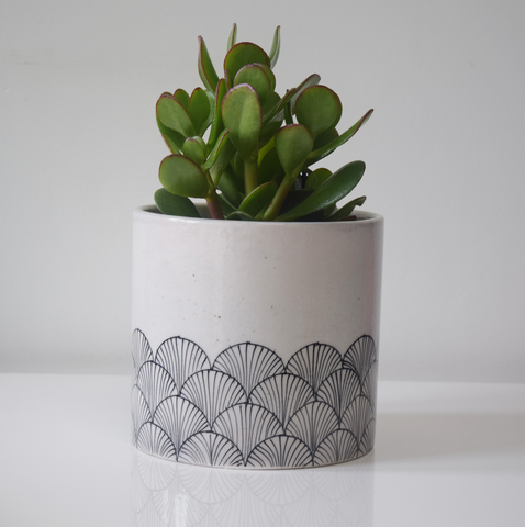 pankha, black and white fan patterned planter