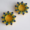 Big Yellow Diyas/Tealight holders, Painted With Blue and Turquoise Flowers