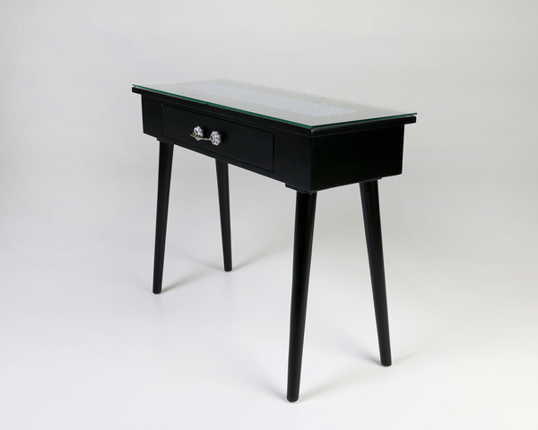 Kala Black Tile Top Console Table