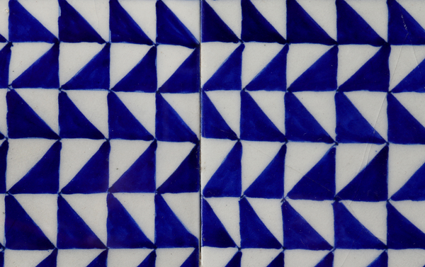 Geometric blue pottery tile inlay