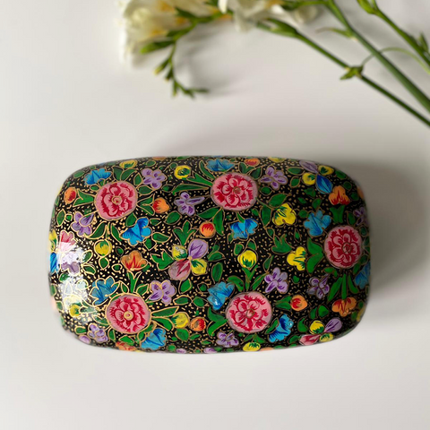 Black paper mache box with multicoloured flowers