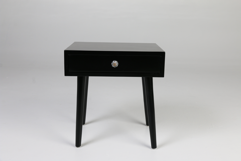 Black side table, ceramic handle- front