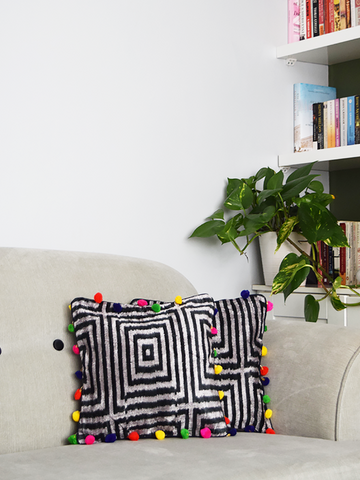 Black and White Geometric Velvet Ikat Cushion Covers