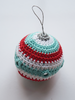 Single Teal, red and white crochet bauble with mirror work