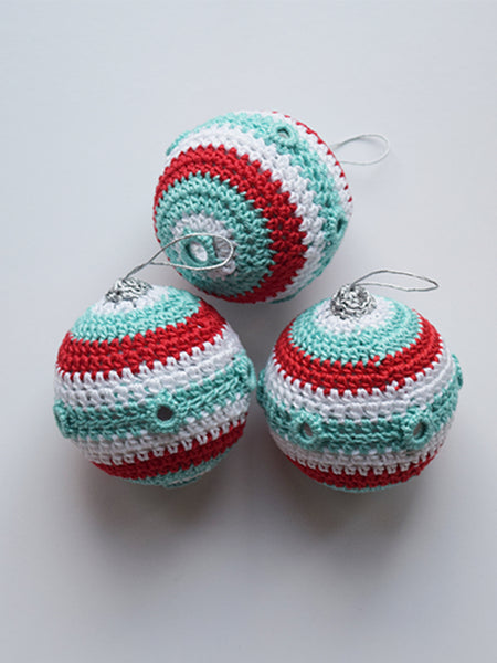 Red, Teal and White Crochet Christmas Baubles