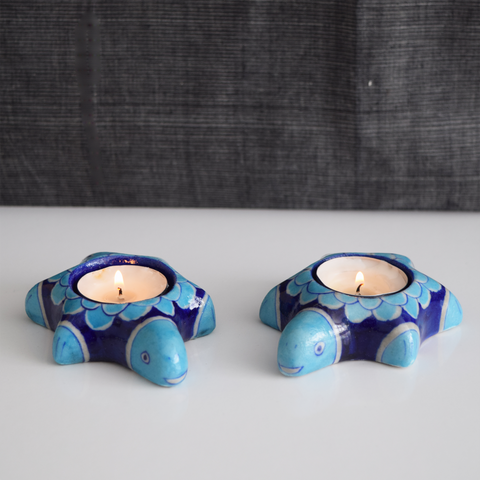 Blue Turtles, Painted Diyas/Tealight holders