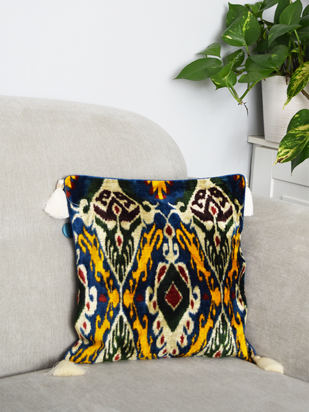 Blue Velvet Ikat Cushion Cover