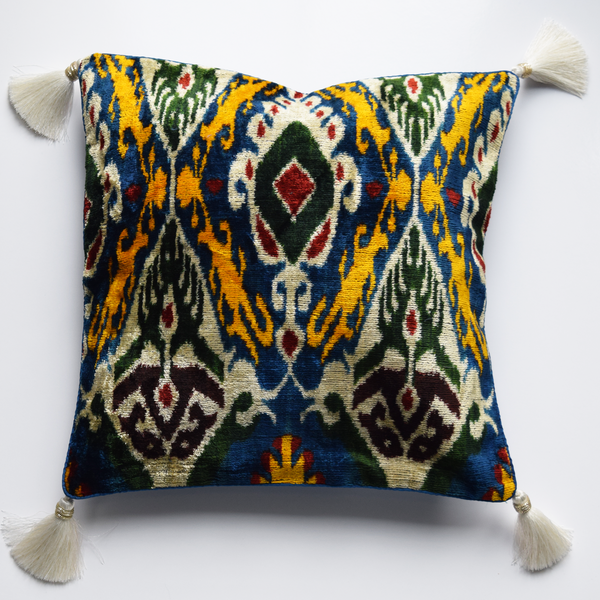 Blue Multicoloured Velvet Ikat Cushion Cover with White Tassels