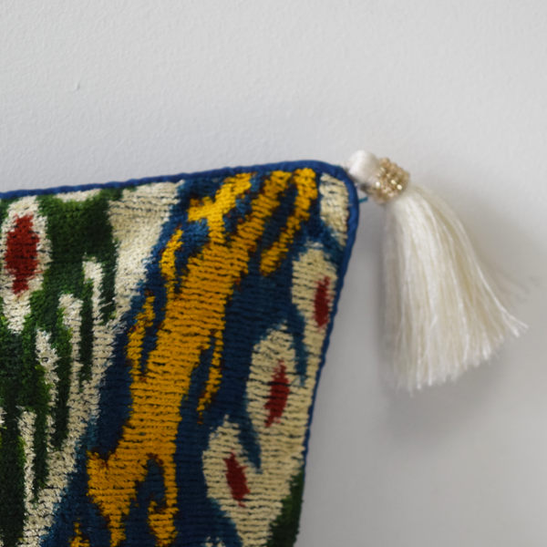 Blue Velvet Ikat Cushion Cover white tassel