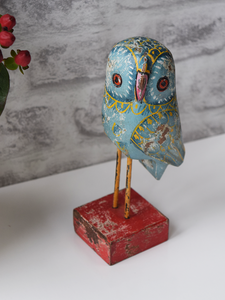 Blue Reclaimed Wood Owl